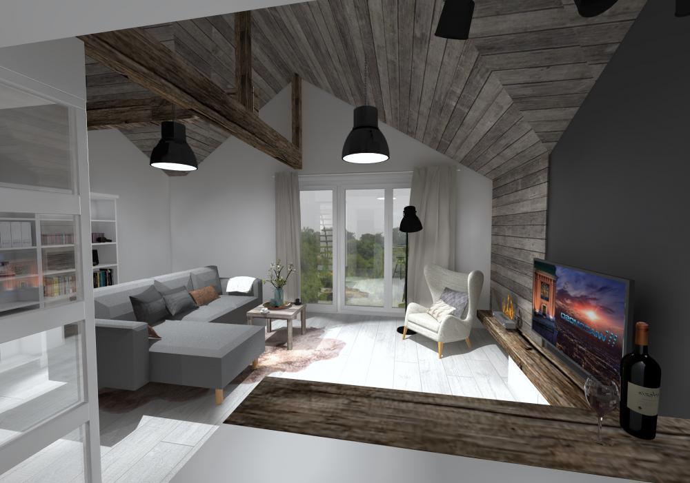 Projekt wnętrza Mieszkanie na poddaszu w Tychach